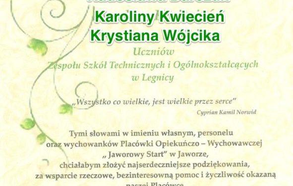 """Podziękowania od Placówki Opiekuńczo Wychowawczej """"Jaworowy Start"""""""