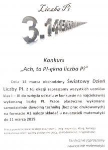 Zaproszenie Na święto Liczby Pi Konkursy Henrykówka